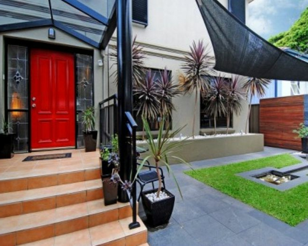 red entrance door Garden Ideas landscape trends invitingly maintained
