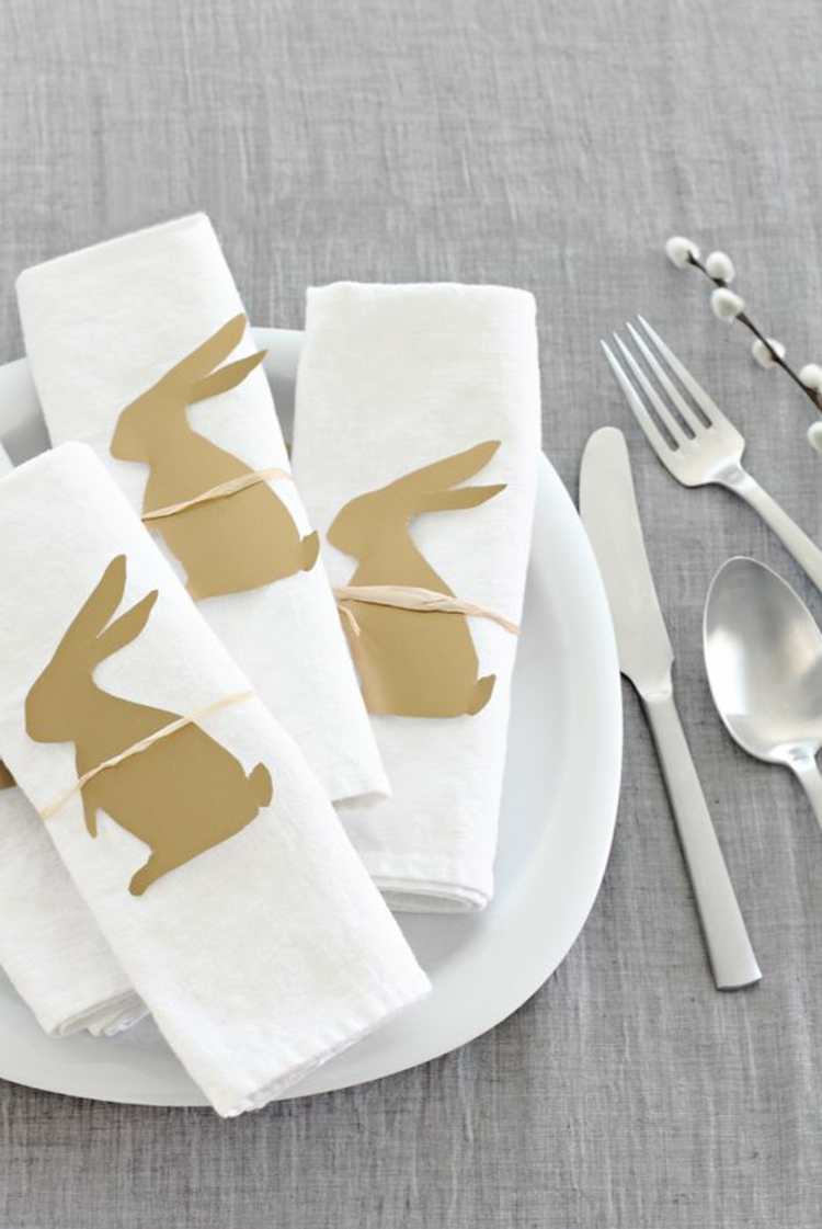 Easter decoration table top ideas napkins with stencils bunnies