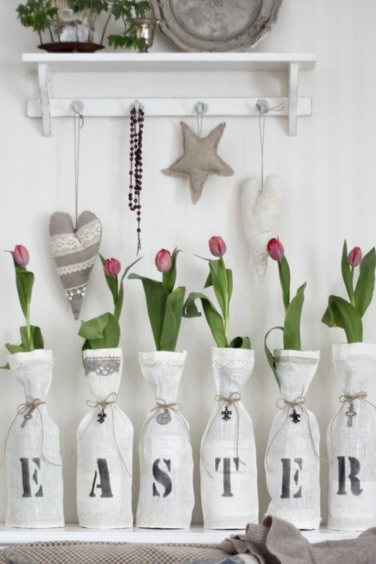 Easter decoration rustic Easter decoration itself make fabric hearts sew tulips