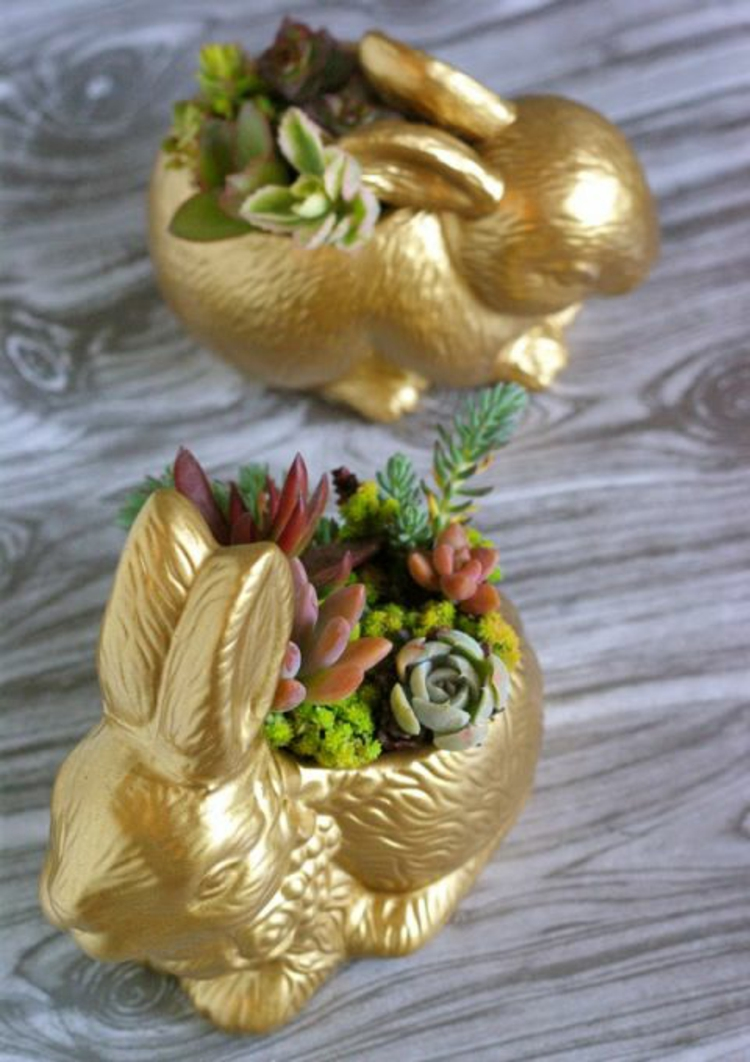 Easter decoration rustic Easter decoration itself make succulents potty bunny