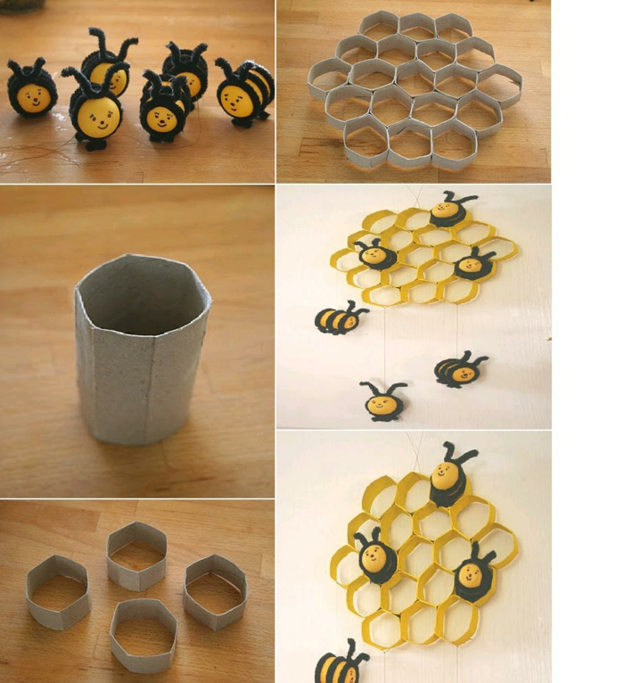 Party decoration cork rolls black bees tinker with toilet paper rolls