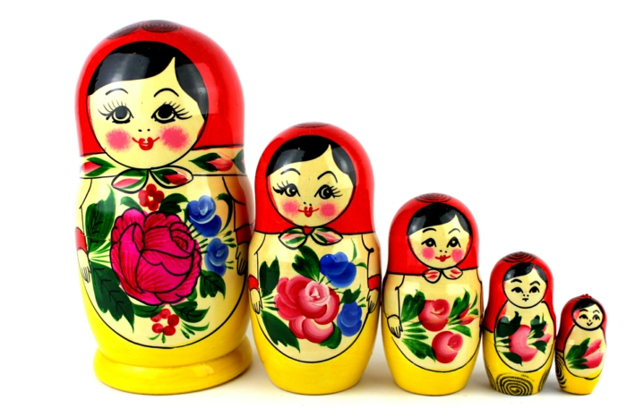 Bonecas russas Russian matryoshka family women Russian red