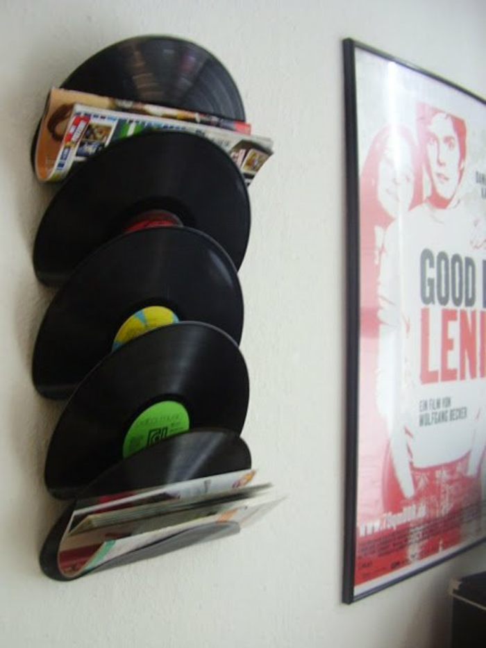 Vinyl records craft ideas wall shelf for magazines diy projects