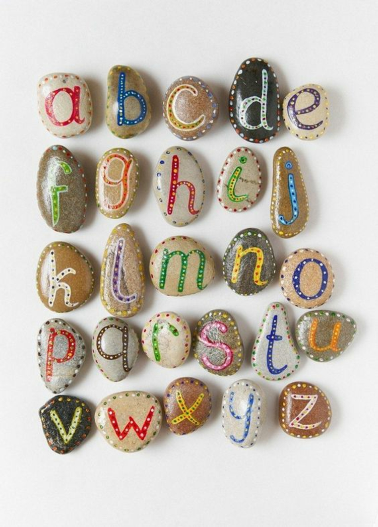Stones painted alphabet tinkering with stones