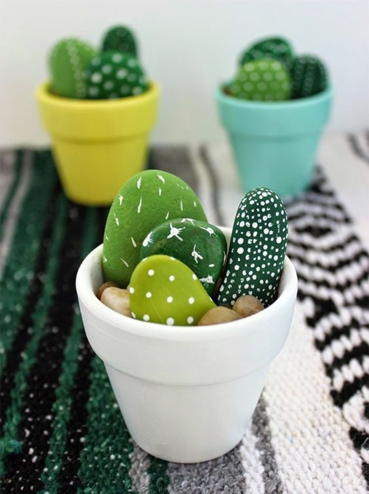 Stones painted cactus decoration ideas tinkering with stones
