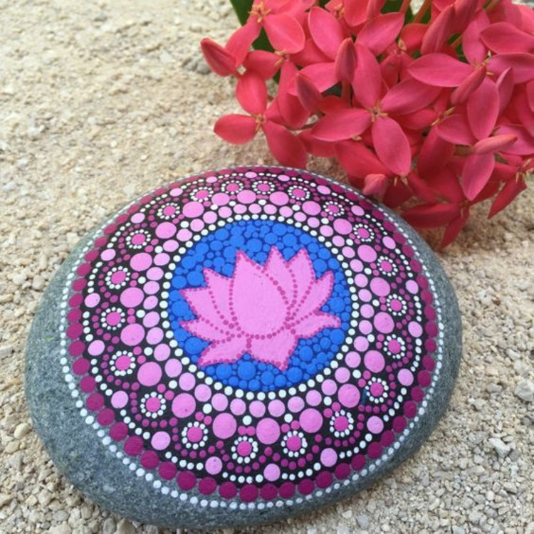 Painting stones mandala lotus tinkering with stones