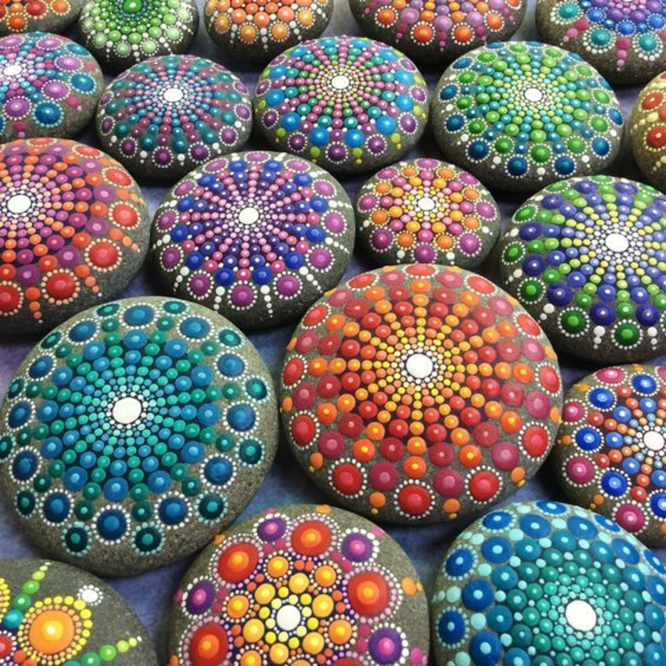 Stone painted mandala pebbles crafting with stones