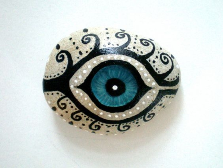 Stones painted blue eye crafts with stones