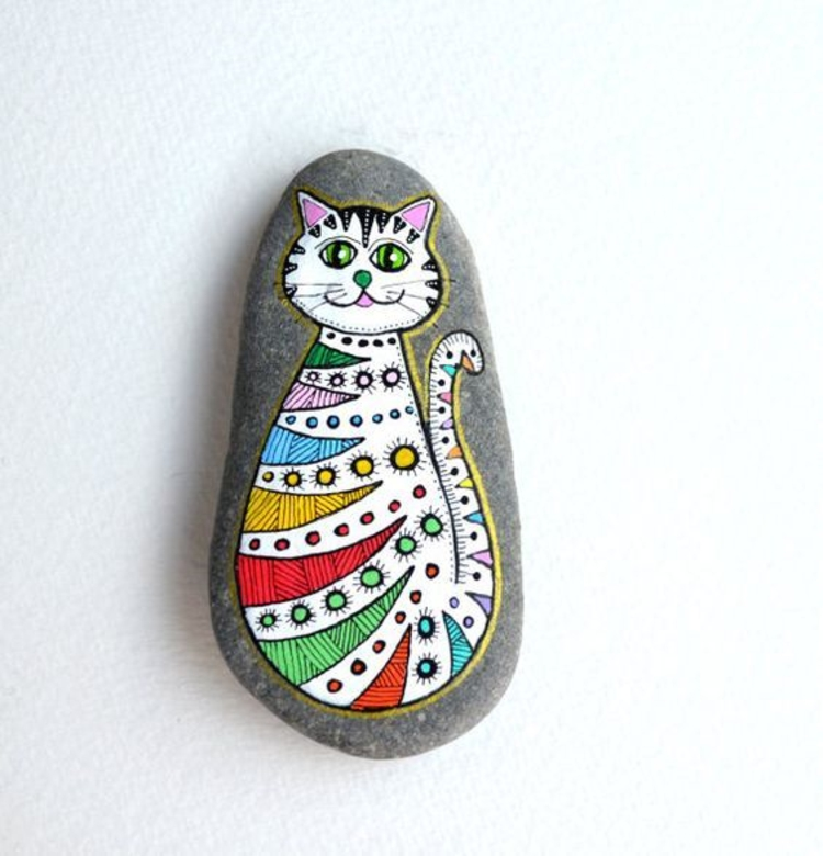 Stones painted colorful cat crafts with stones