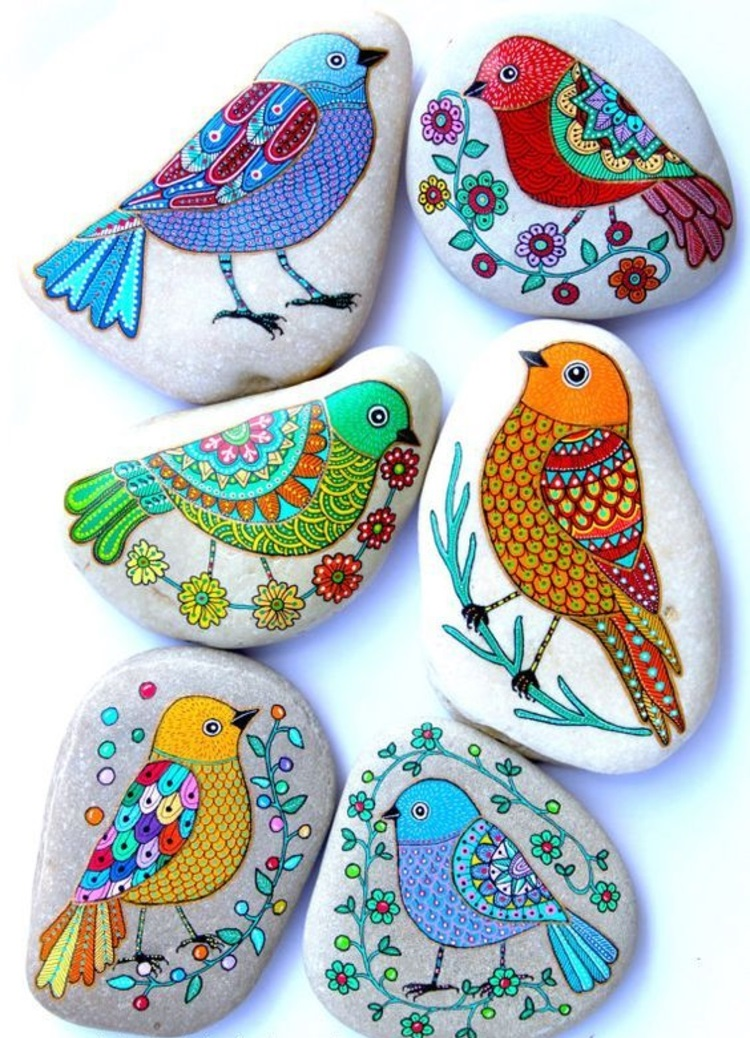 Stones painted colorful birds painted stones