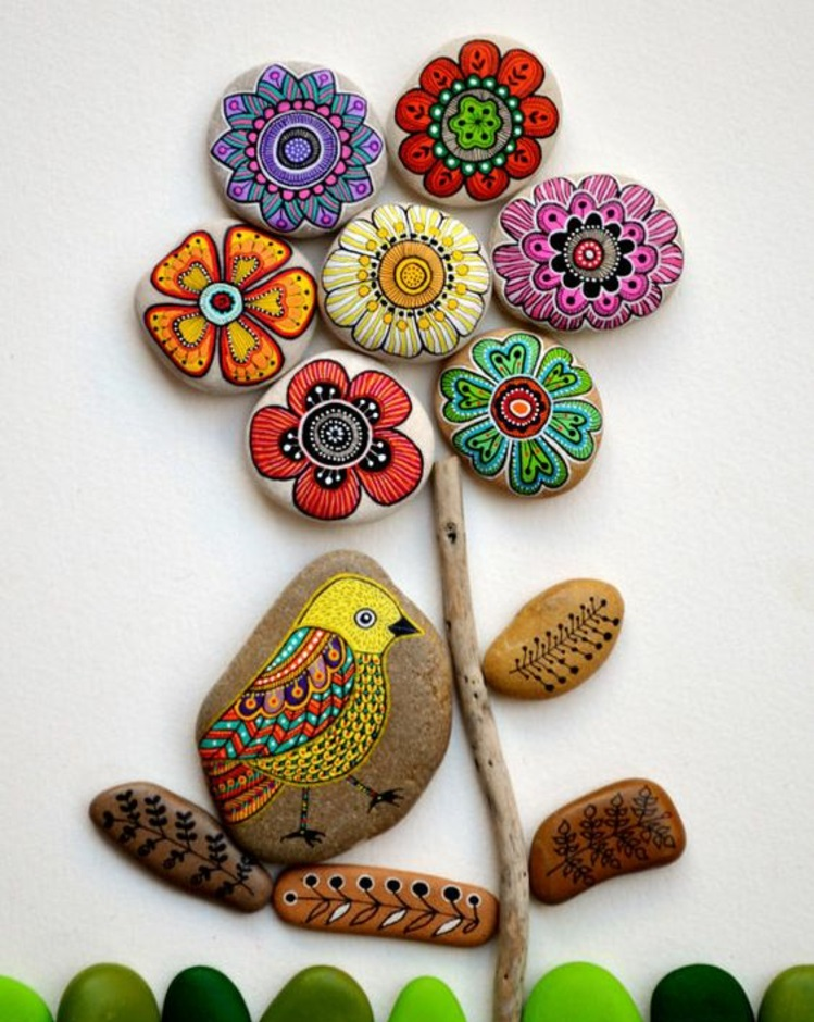 Stones painted colored flower pattern crafting with stones