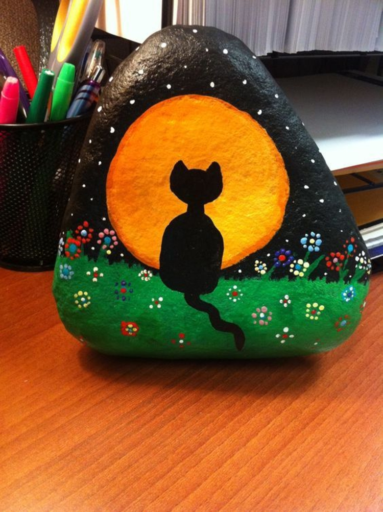 Stones painted black cat crafting with stones