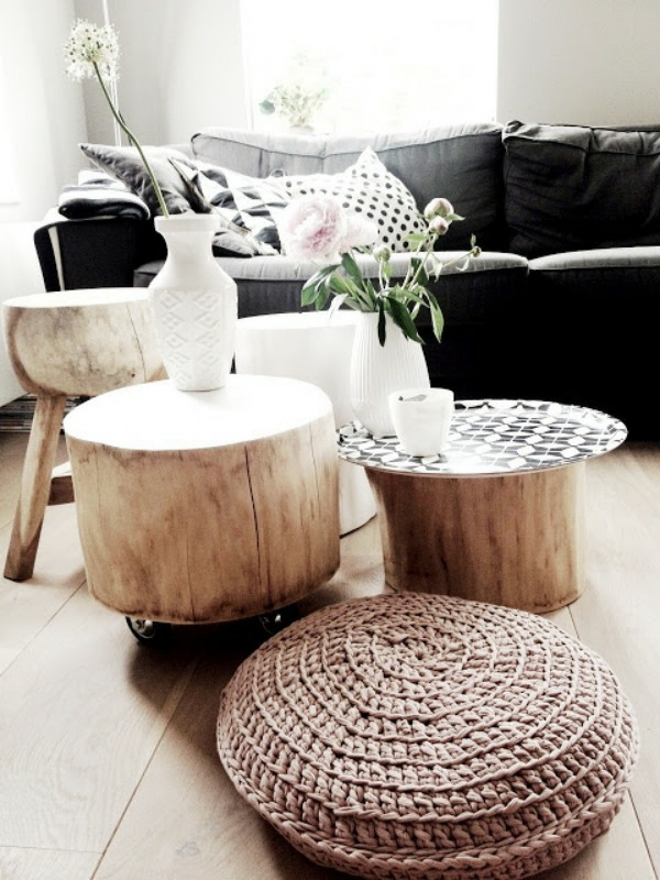 Table made of tree trunk stool