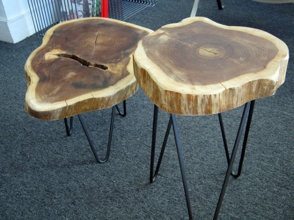 vintage coffee table wood section table from tree trunk