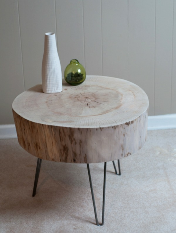 Table made of tree trunk solid wood