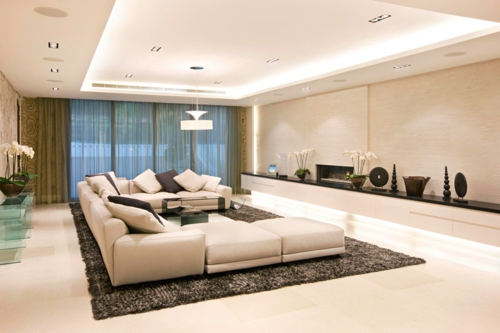 bright ceiling paneling Great ceiling design in the living room modern