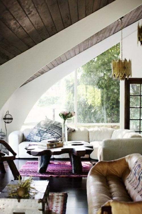 modern original attic ceiling covering in the living room