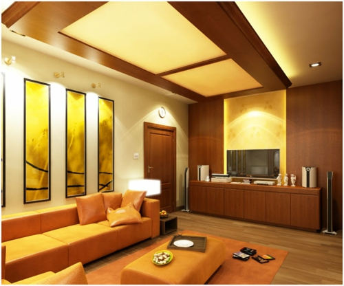 modern original yellow light ceiling paneling in the living room