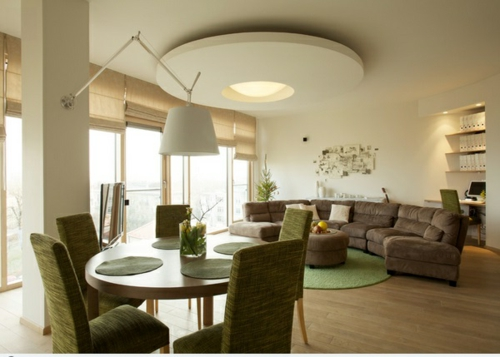 ceiling paneling in the living room modern original trendy green upholstered furniture