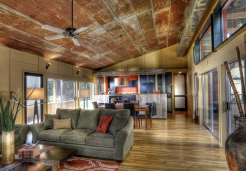 Great ceiling design in the living room modern rustic