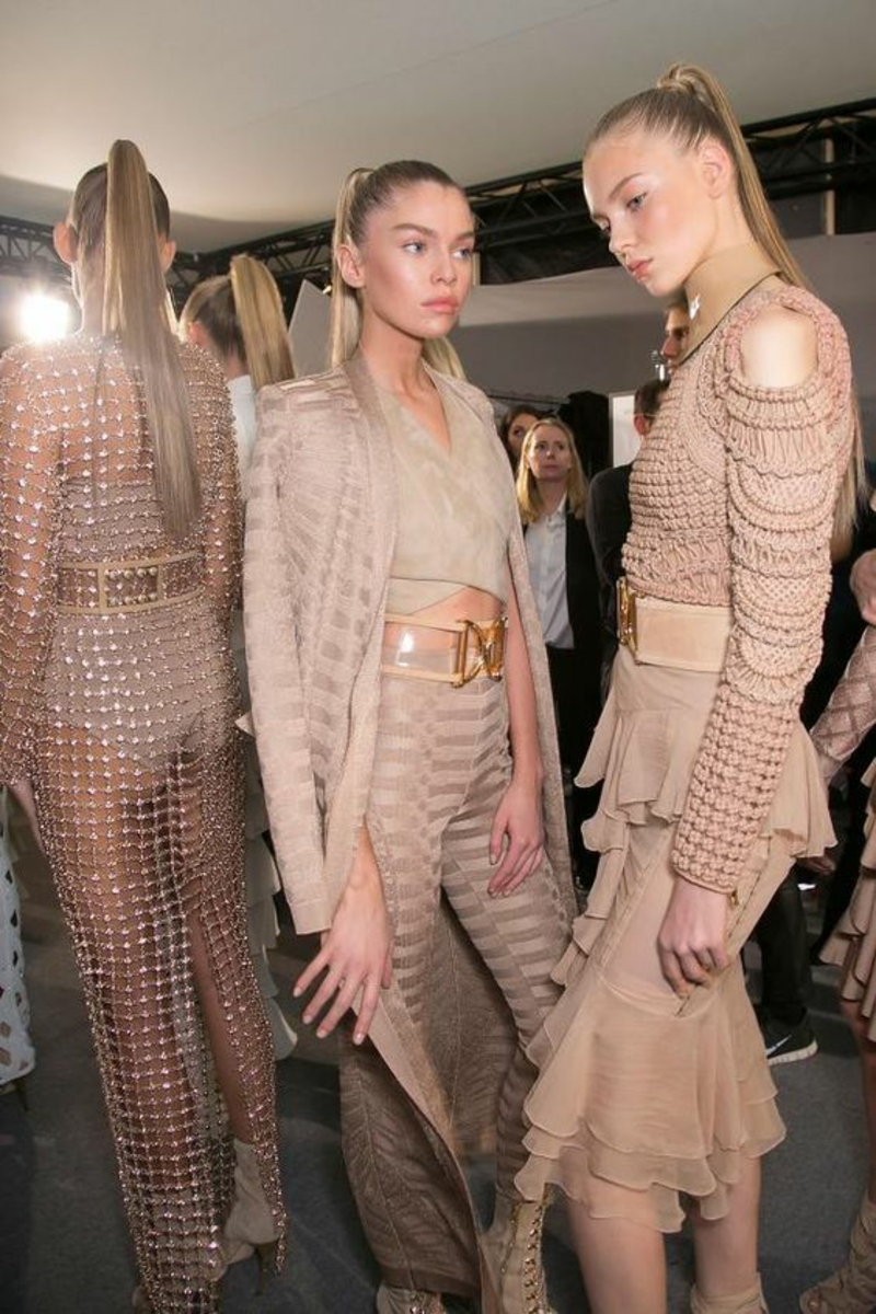 Trendy colors Beige current fashion trends Balmain beige dresses