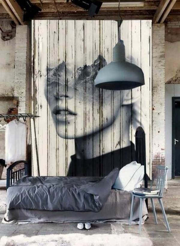 Wooden wall deco wooden pallets paint artistic solution