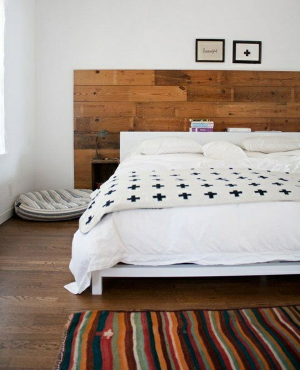 Wooden wall decoration bedroom ideas bed headboard wood