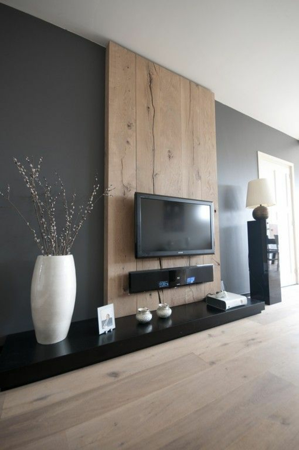 Wall decoration wooden tv wall flat TV