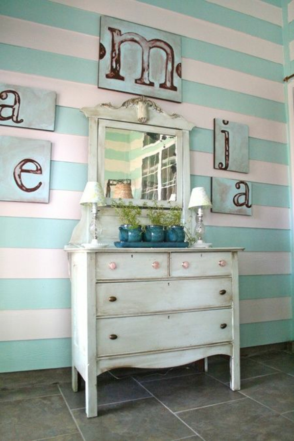 Brev Turquoise wall design stripes dresser