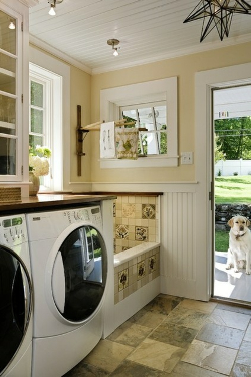 Washbasin for the laundry pale yellow window backyard dog