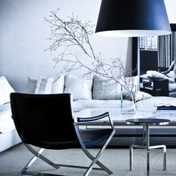 Living room decor branches armchairs sofa urban