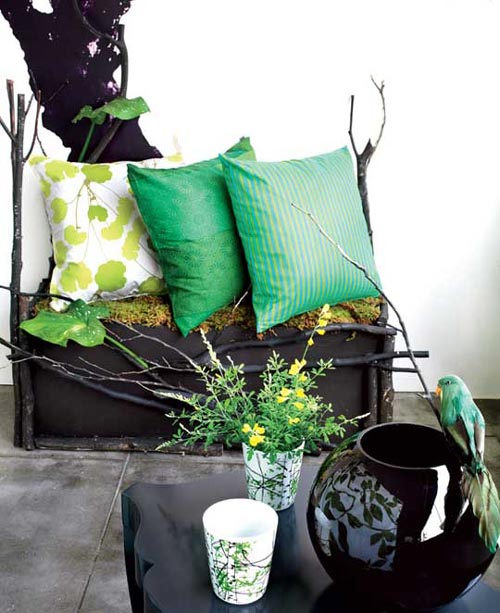 Branches decor patio black table cushions