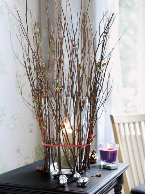 Interior decoration with branches decor vase candle dresser living room