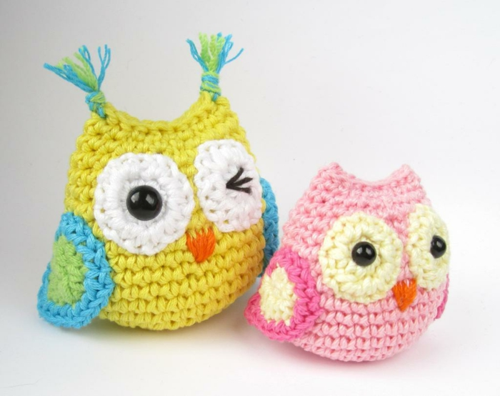 amigurumi crochet colored owls tinker