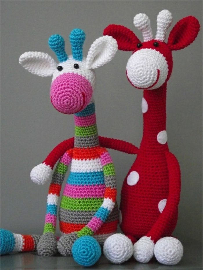 amigurumi crochet colored giraffe tinker