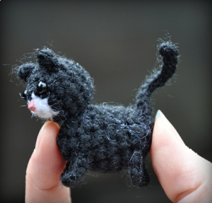 Amigurumi crochet pattern tiny black cat