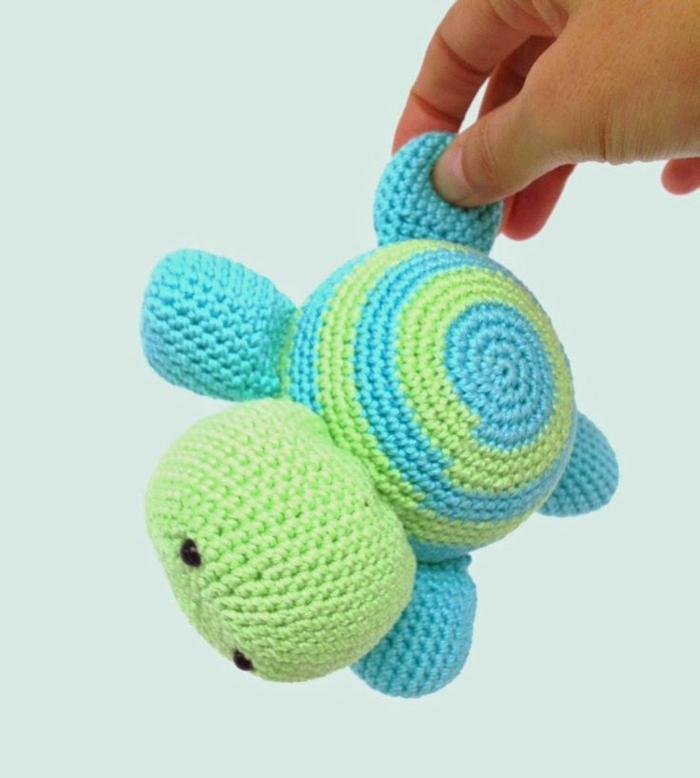 amigurumi crochet beautiful turtle green blue