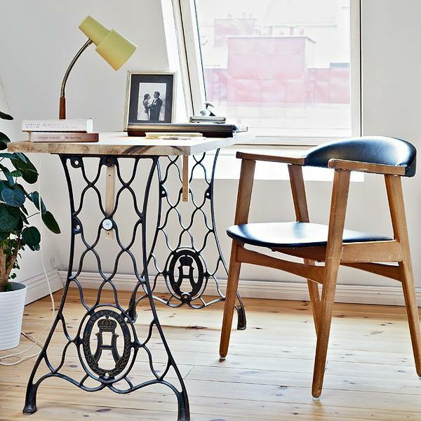 Design work table from old sewing machine