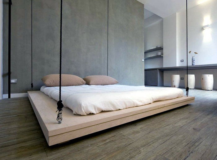 fancy beds hanging floating bed double bed wooden frame ropes ofdesign.net