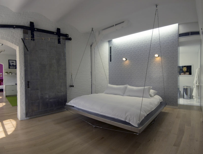 fancy beds hanging bed metal ropes partition wall