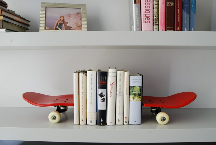 Bookshelf bookends bookends skateboard