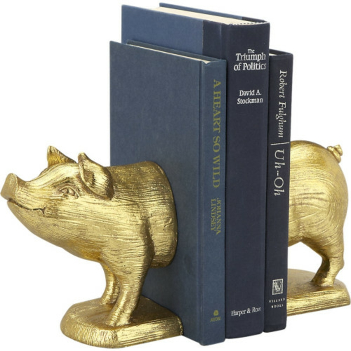 bookends golden pig