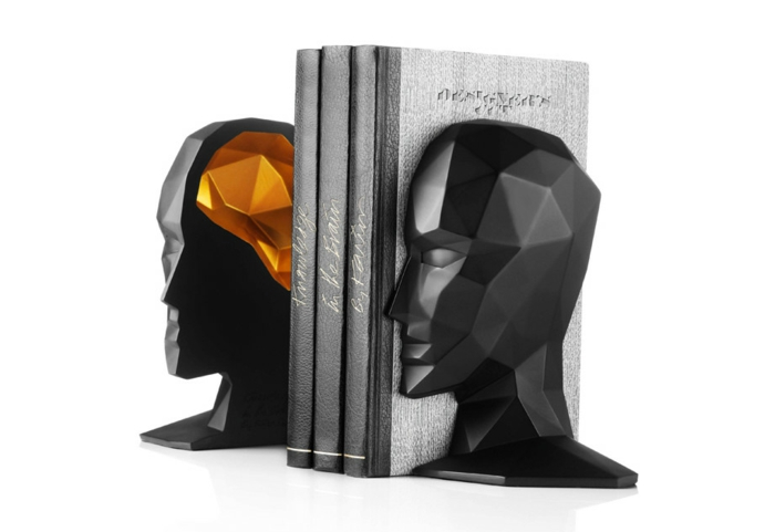 Bookshelf bookends head human profile 3d