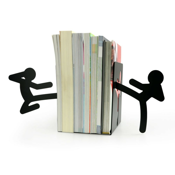 bookends black metal stick figure karate