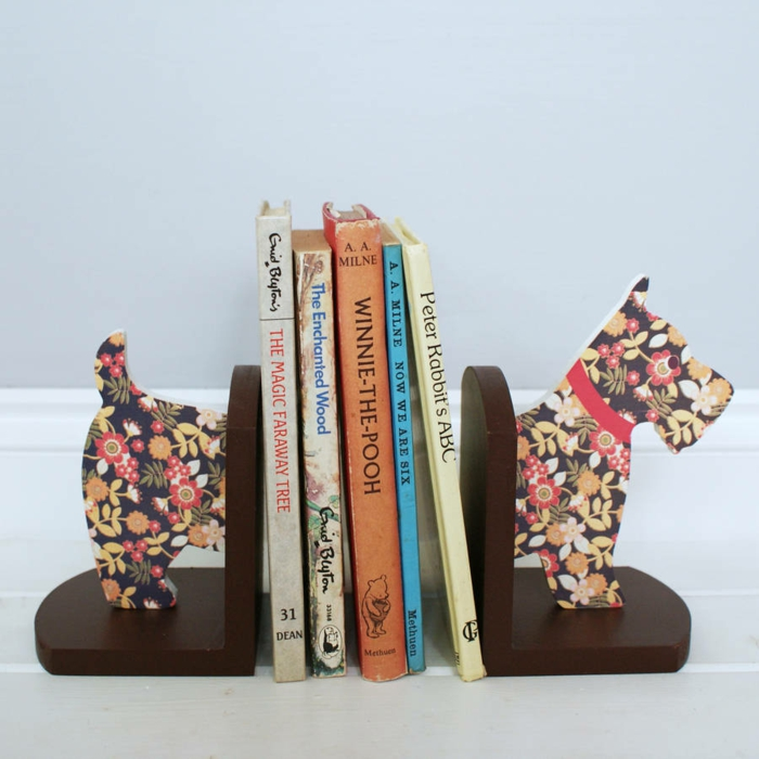 bookends colorful dog flower pattern