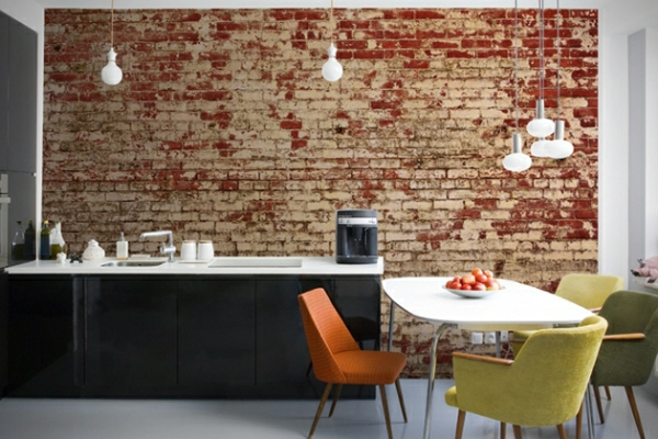 brick wallpaper country style kitchen back wall brick wallpaper