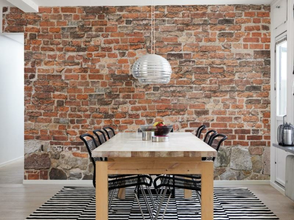 stone look wallpaper stone look wall brick wallpaper dining room design