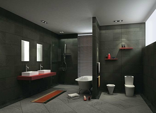bathroom furnishing dark wall tiles red accent dividing wall