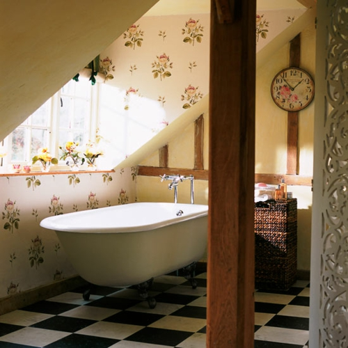 bathroom interior roof bathtub retro floral pattern