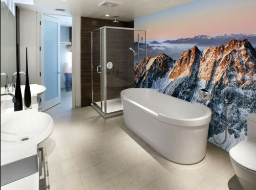 bathroom interior mountain view wallpaper wallpaper